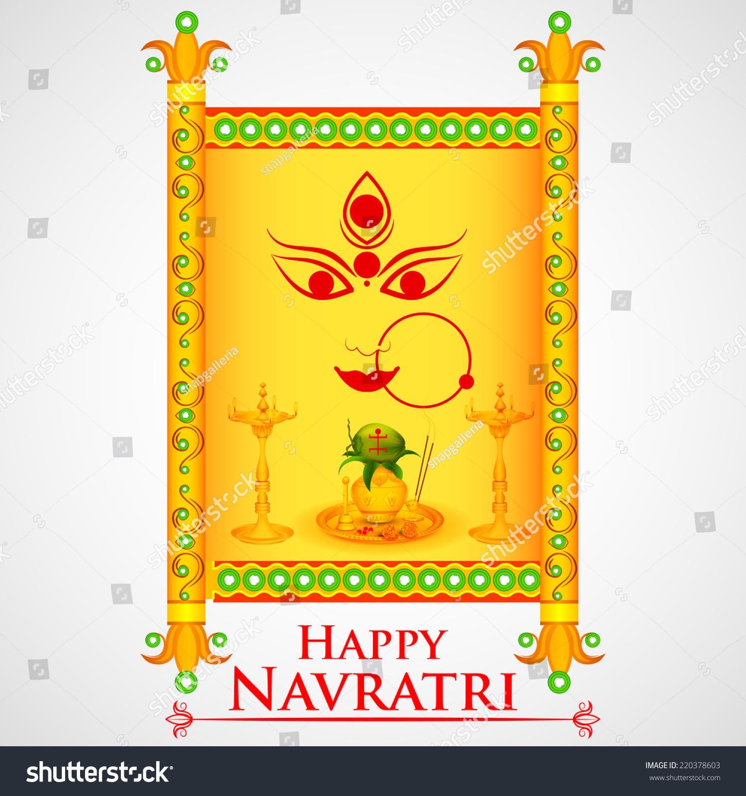 Easy Edit Vector Illustration Happy Navratri Stock Vector Royalty
