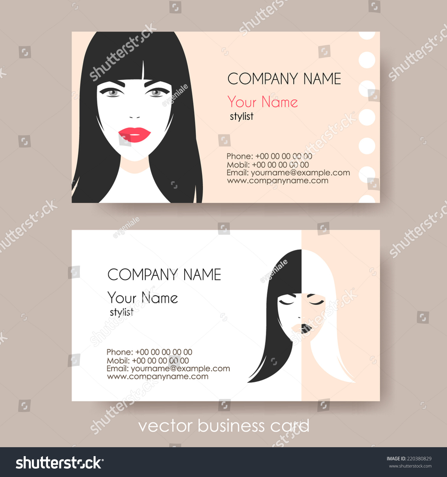 Set Cosmetic Business Cards On Grey Stock Vector 220380829 ...