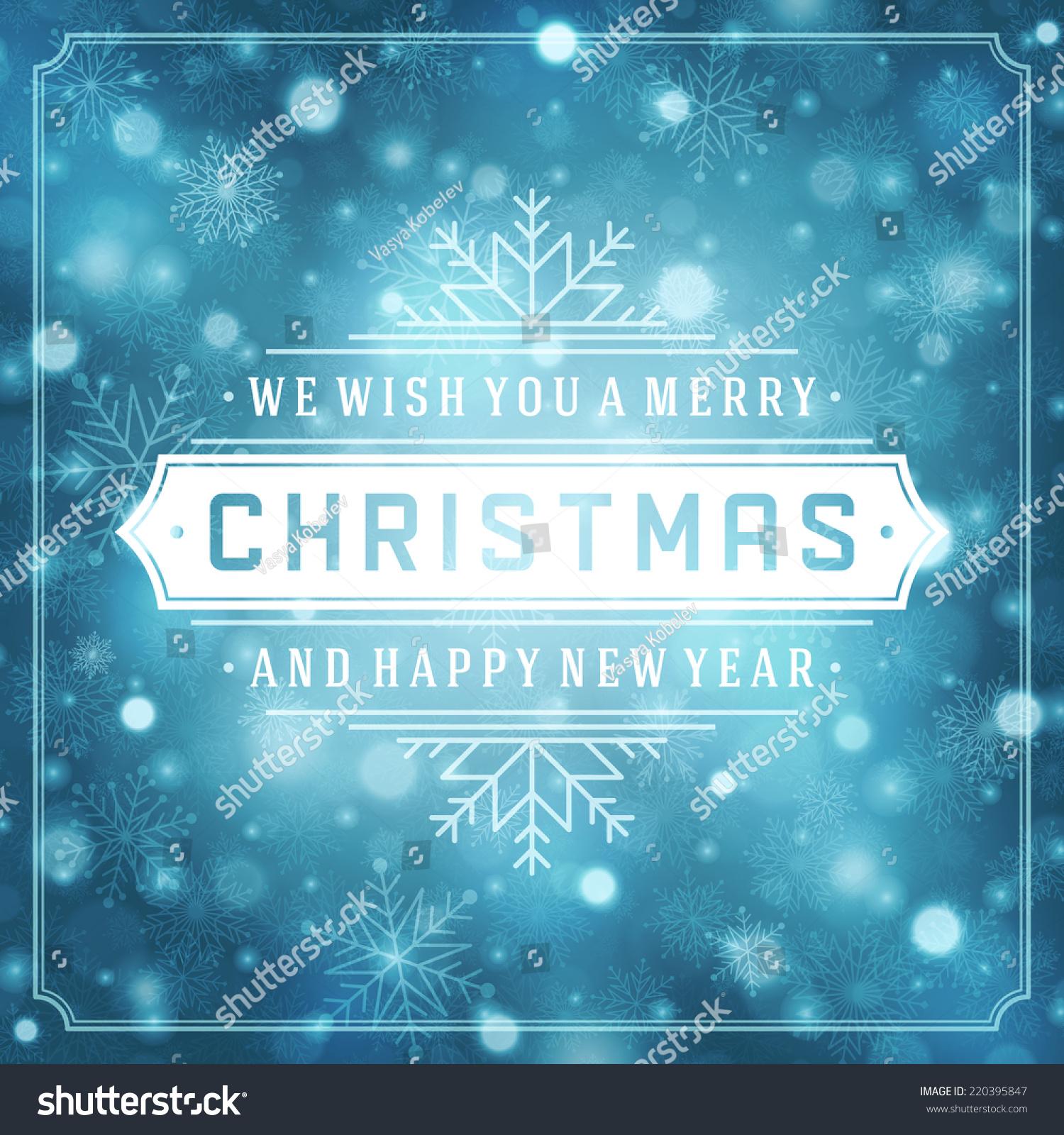 Christmas Retro Typography Light Snowflakes Merry Stock Vector 2018