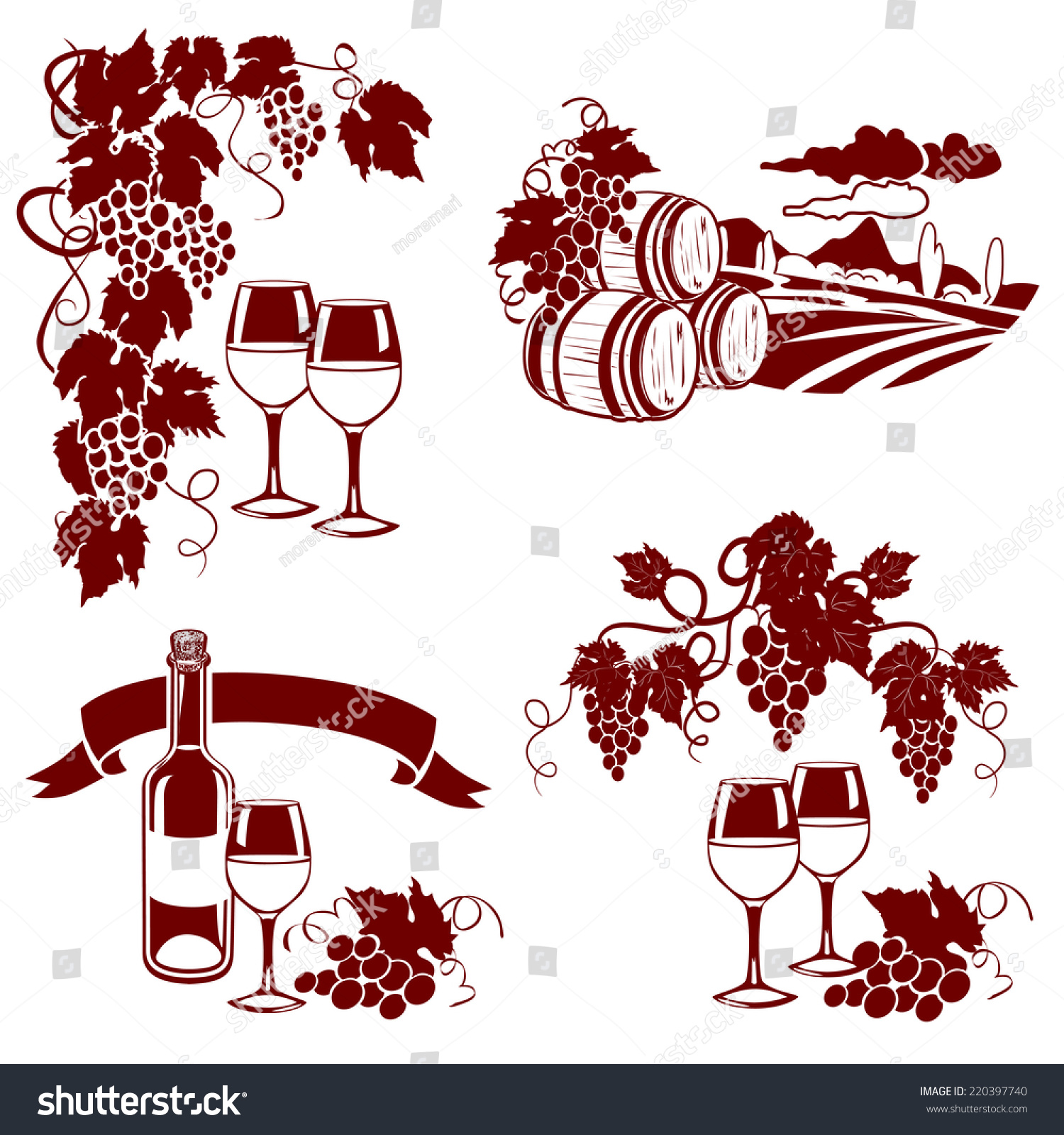 Set wine logos imprint vector illustration stock vector 220397740 set of wine logos imprint vector illustration voltagebd