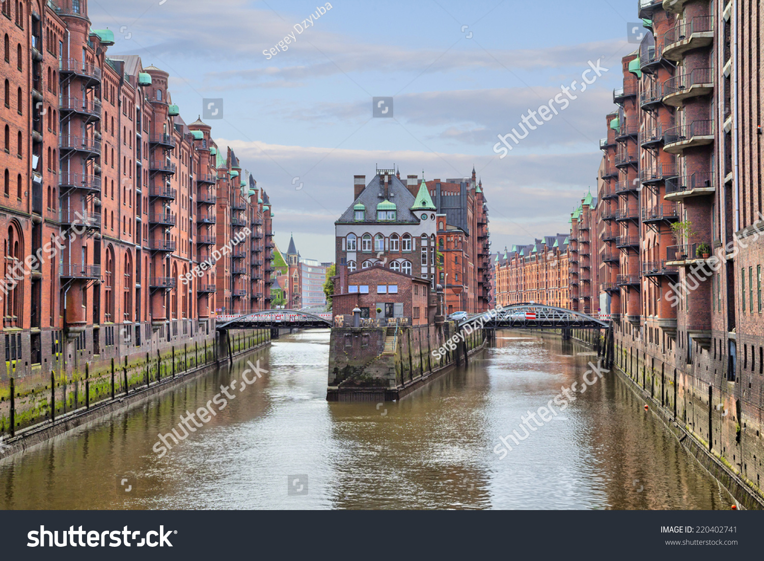 Stock photo hamburg germany riverside new - House And Two Brides In Old Warehouse District Speicherstadt Hamburg Germany