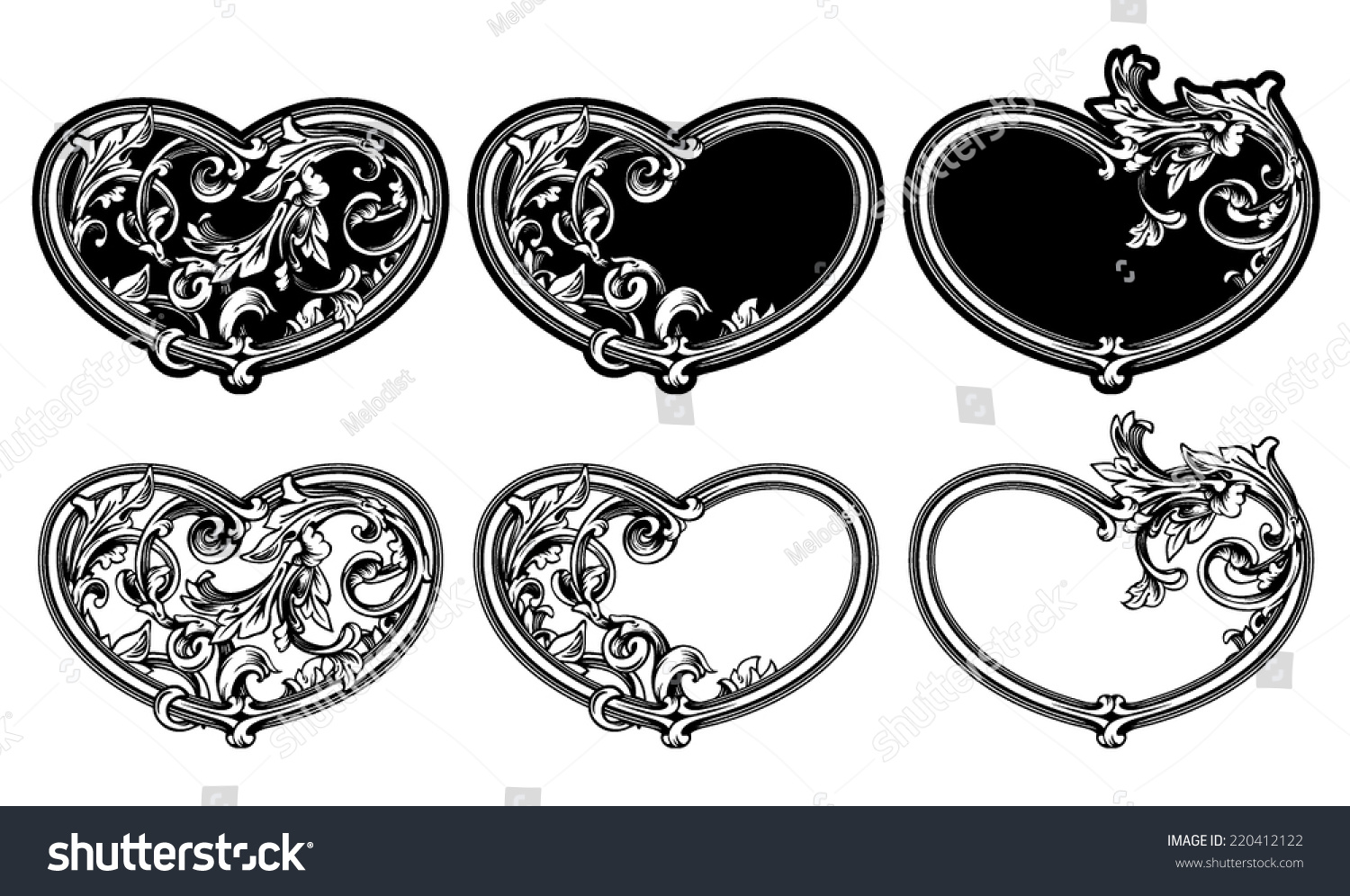Valentines Day Vector Floral Heart Frames Stock Vector (Royalty Free ...