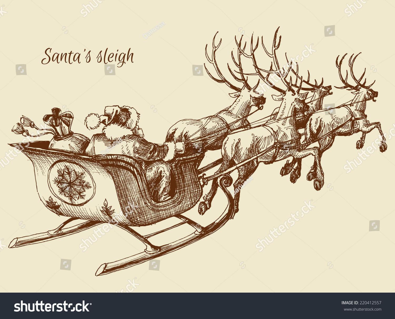 stock-vector-santa-claus-reindeer-sleigh