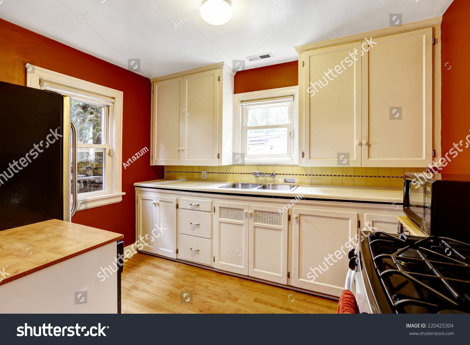 White Kitchen Cabinets Bright Red Wall Stock Photo Edit Now 220425304