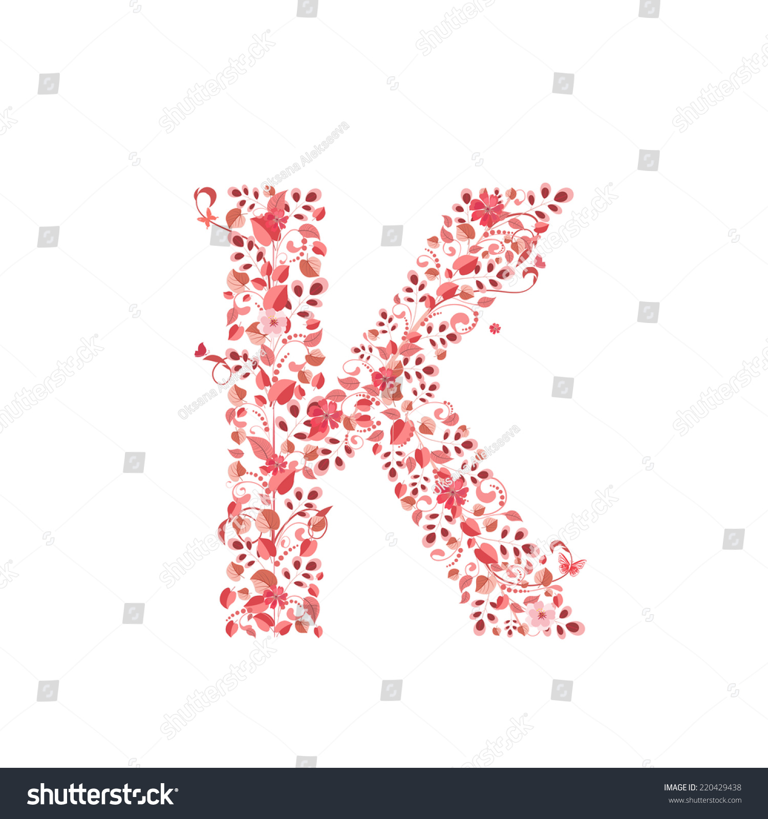 Romantic Floral Letter K Stock Vector (Royalty Free) 220429438 ...