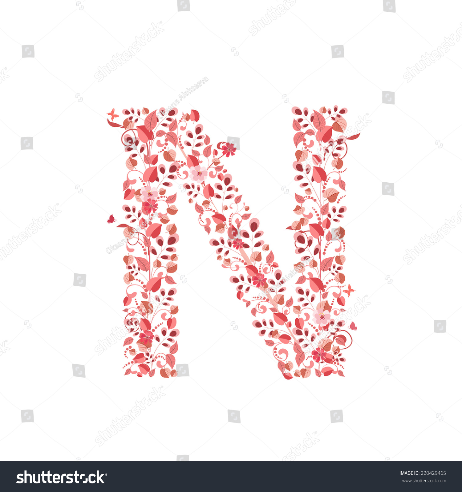 Romantic Floral Letter N Stock Vector (Royalty Free) 220429465 ...