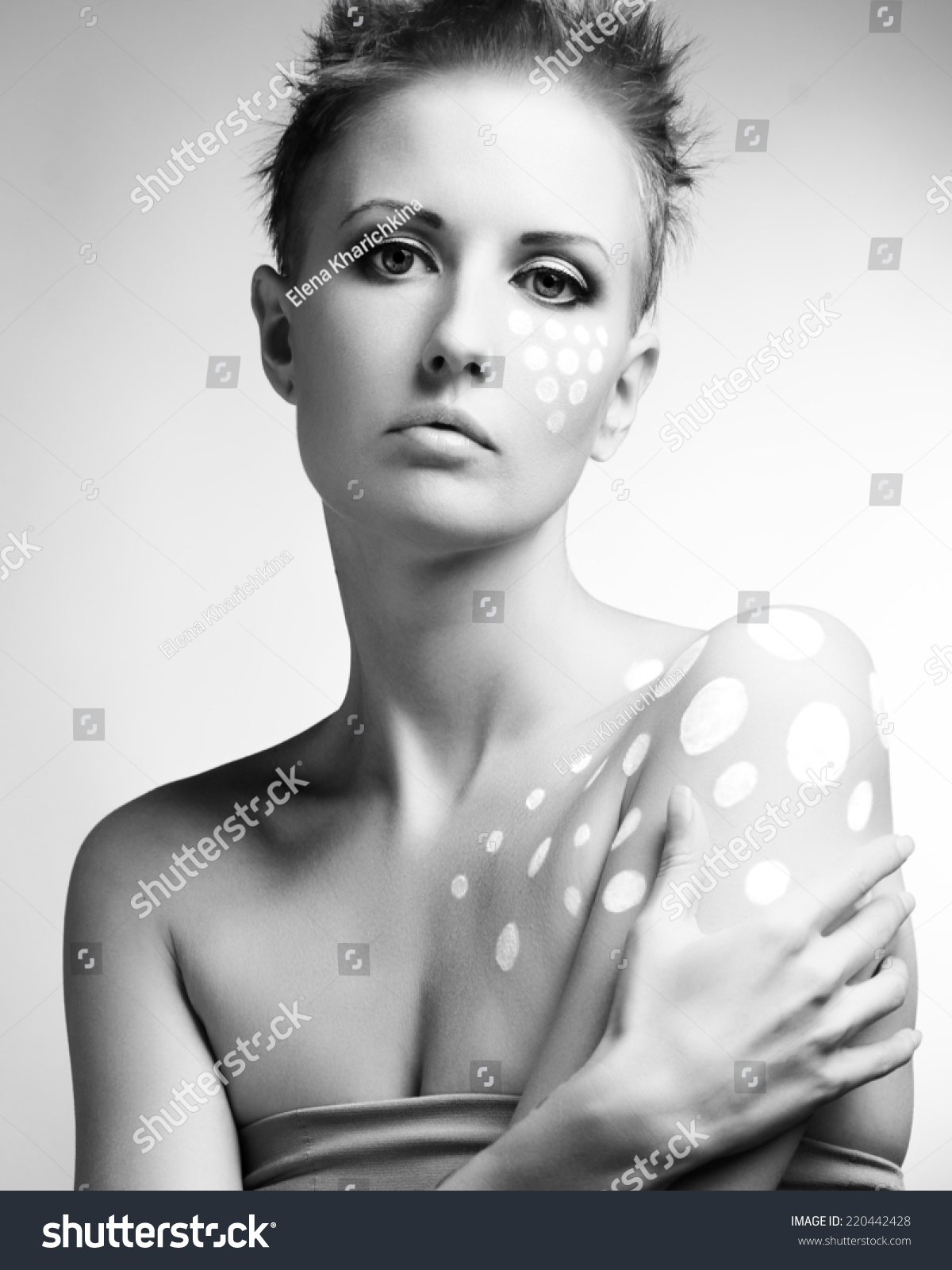 Color Face Body Art Woman Close Stock Photo Edit Now 220442428