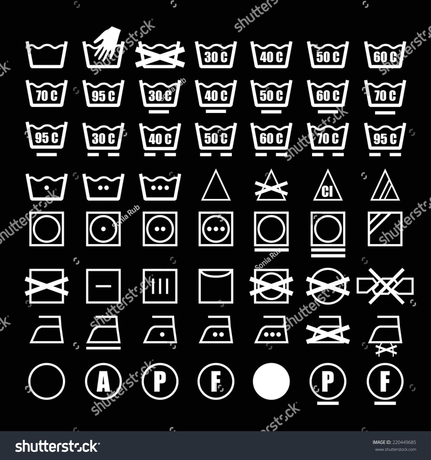 Vector Icon Set Washing Symbols Washing Stock Vector Royalty Free