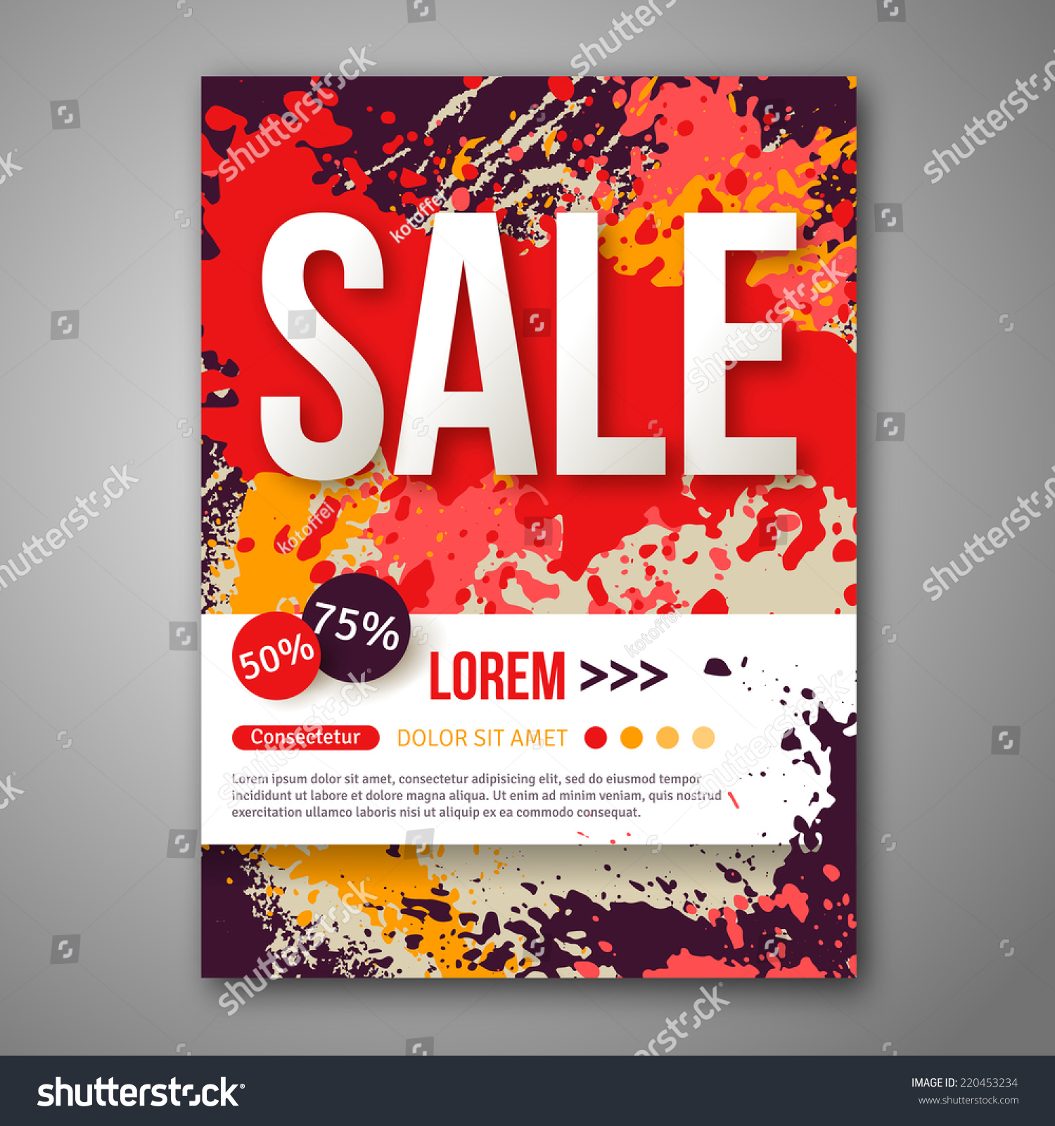 Vector Sale Poster Template Watercolor Paint Stock Vector ...