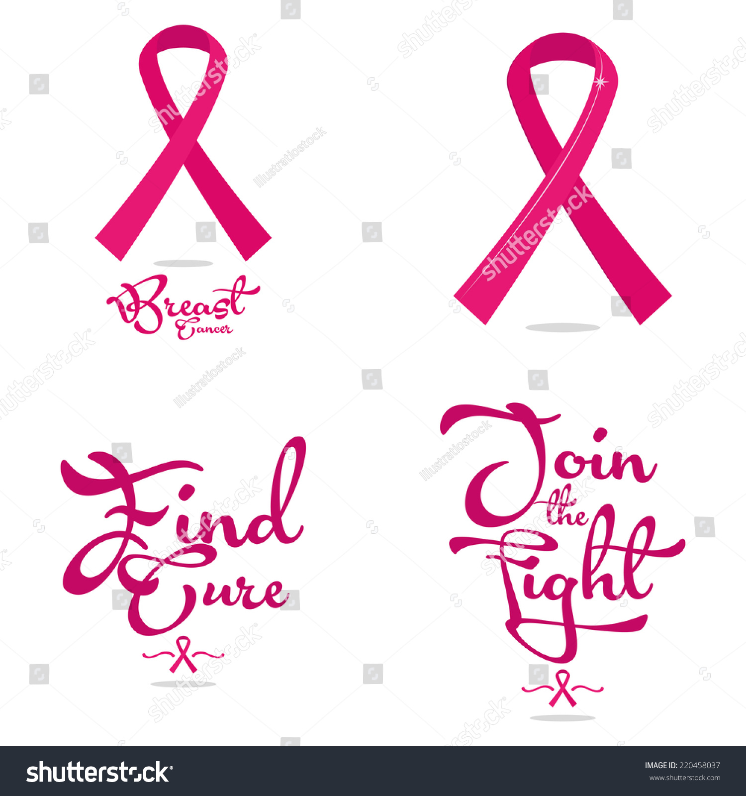 Set four breast cancer symbols without stock vector 220458037 a set of four breast cancer symbols with or without text biocorpaavc