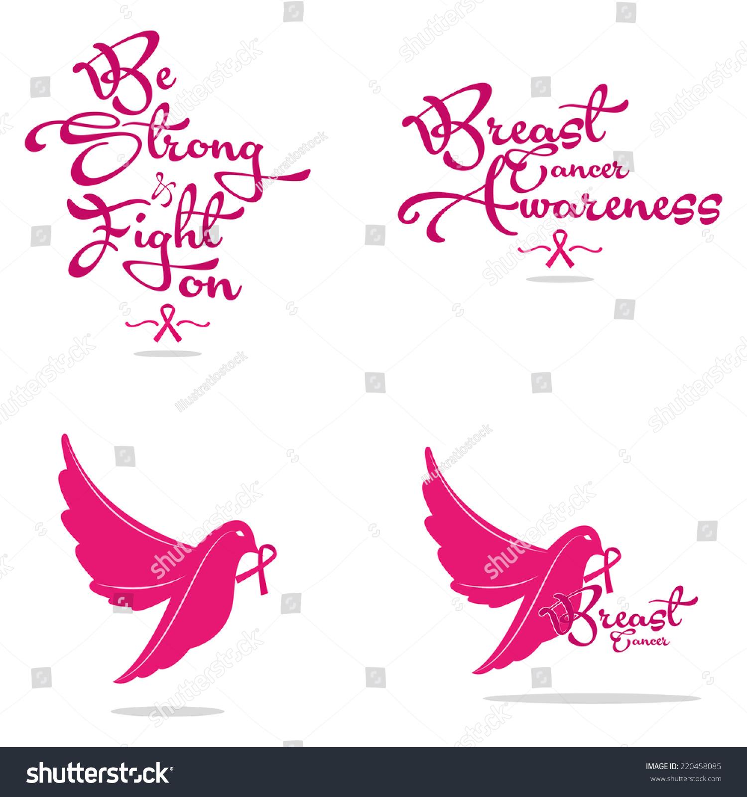 Set four breast cancer symbols text stock vector 220458085 a set of four breast cancer symbols with text or birds biocorpaavc