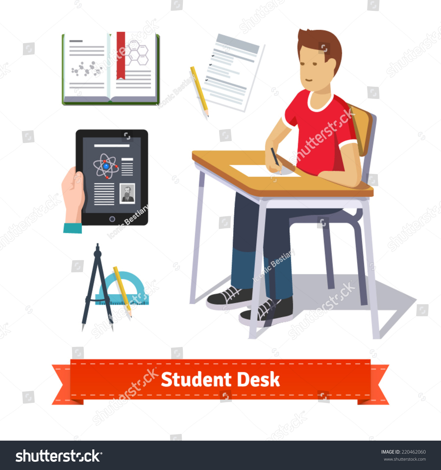 student writing desk