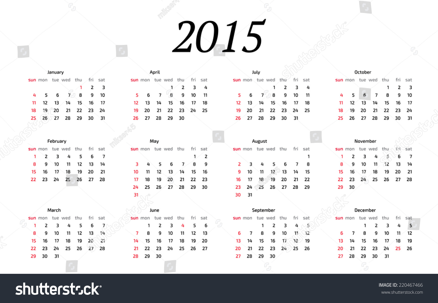 Year Calendar Starting : Year calendar weeks start on sunday stock vector