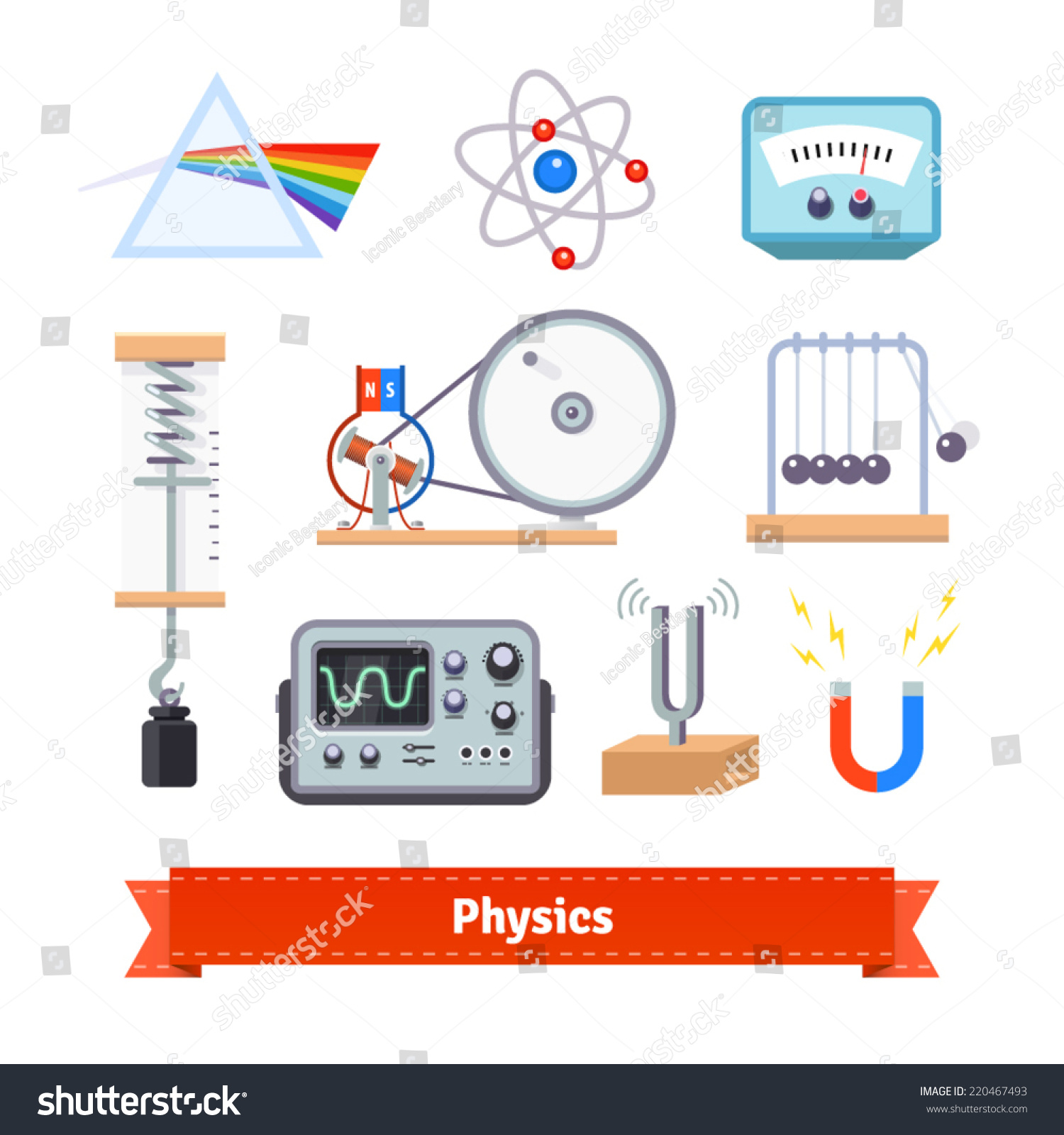 Classroom Logo Design : Physics classroom equipment colourful flat icon set eps