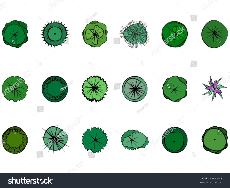 Landscape Design Symbols Stock Vector Illustration