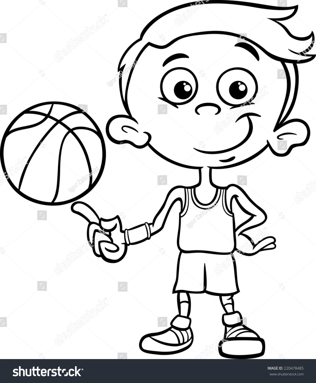 Basketball player cartoon black and white