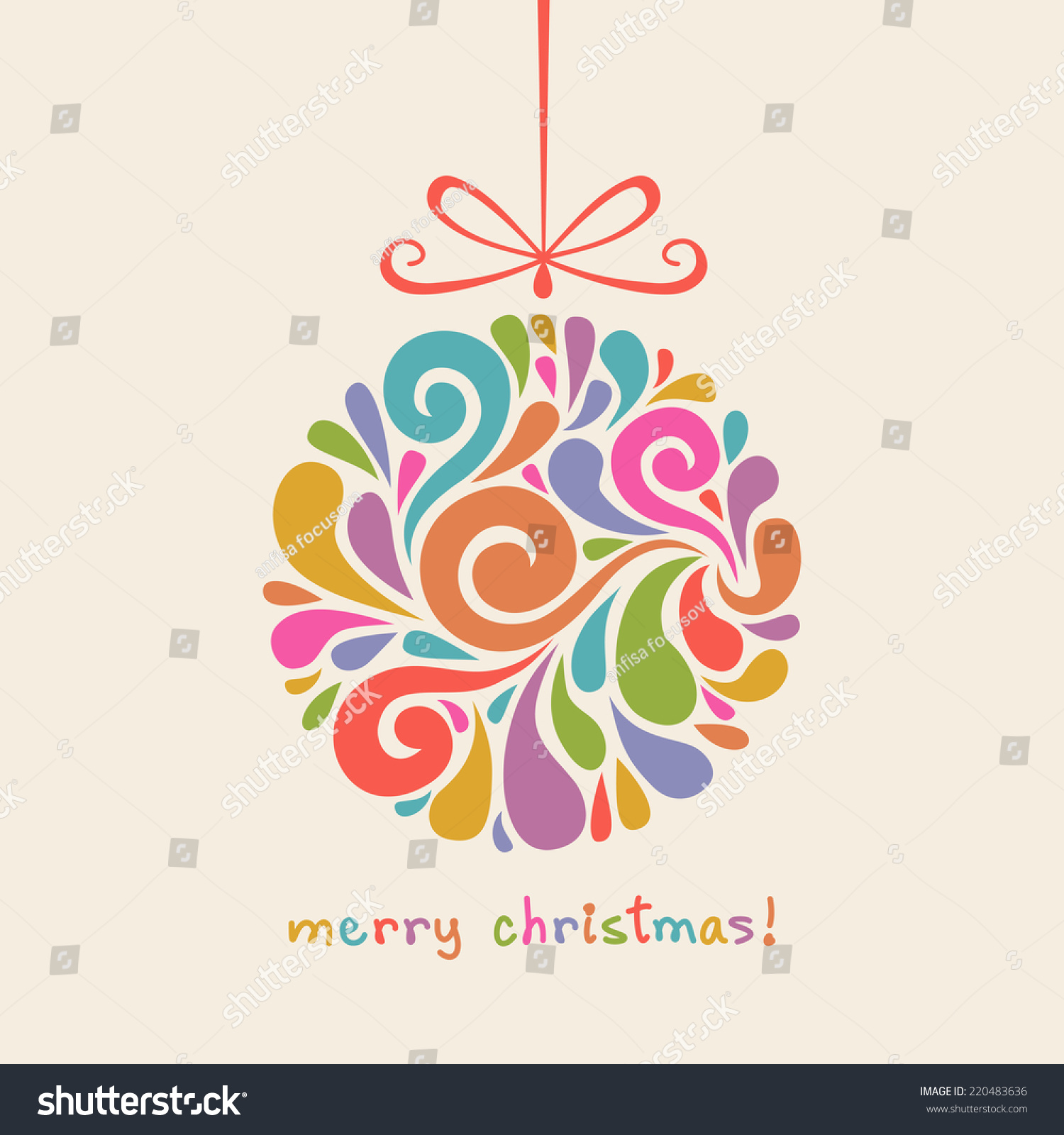 Vector christmas decoration swirl shapes color stock vector vector christmas decoration of swirl shapes color ball with bow greeting invitation cute stopboris Choice Image