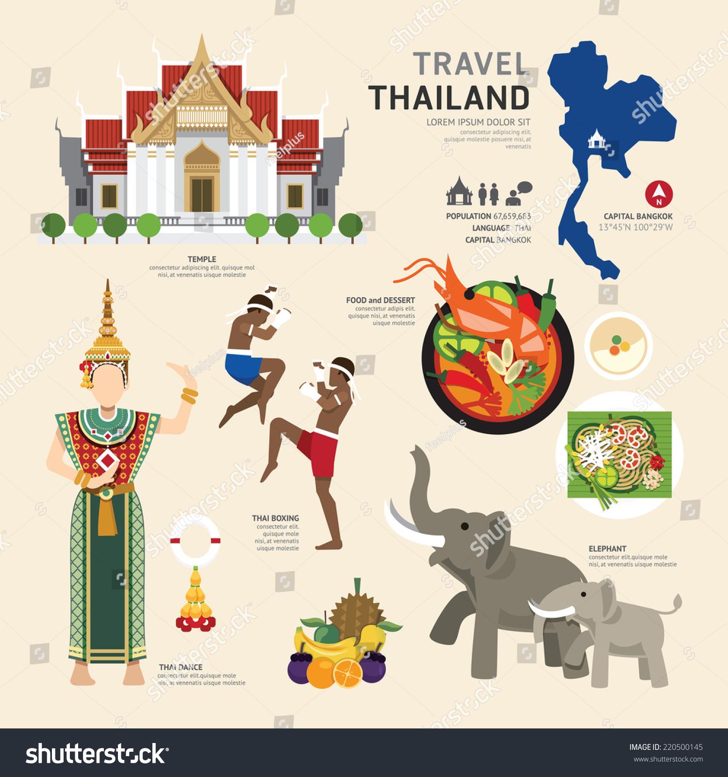 Travel Concept Thailand Landmark Flat Icons Stock Vector