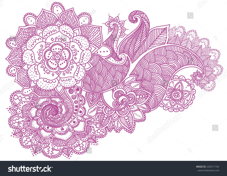 Henna Mehndi Vector : Handdrawn abstract henna mehndi flowers paisley stock vector