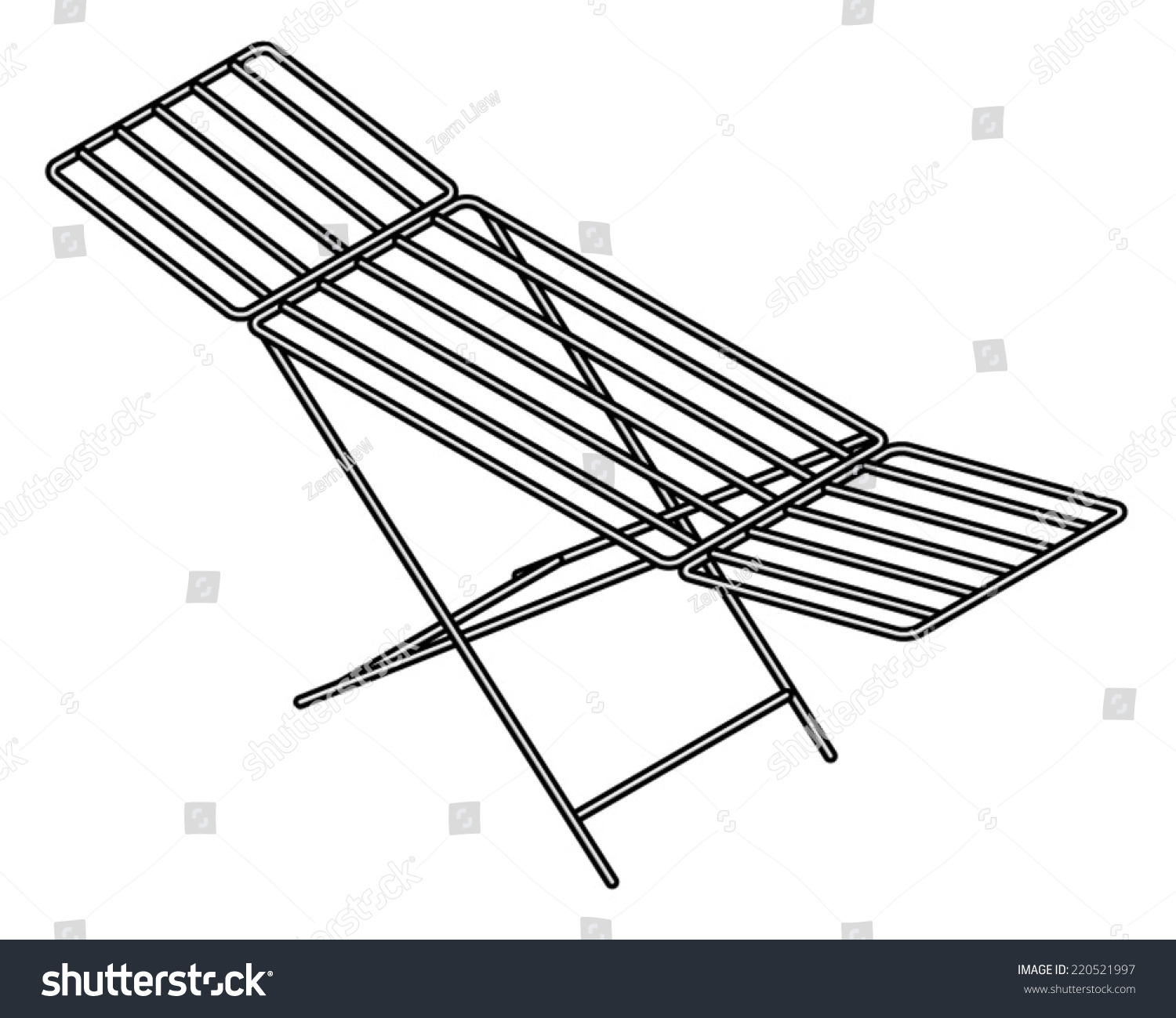 Folding Wire Clothes Horse Drying Rack Stock Vector (2018) 220521997 ...