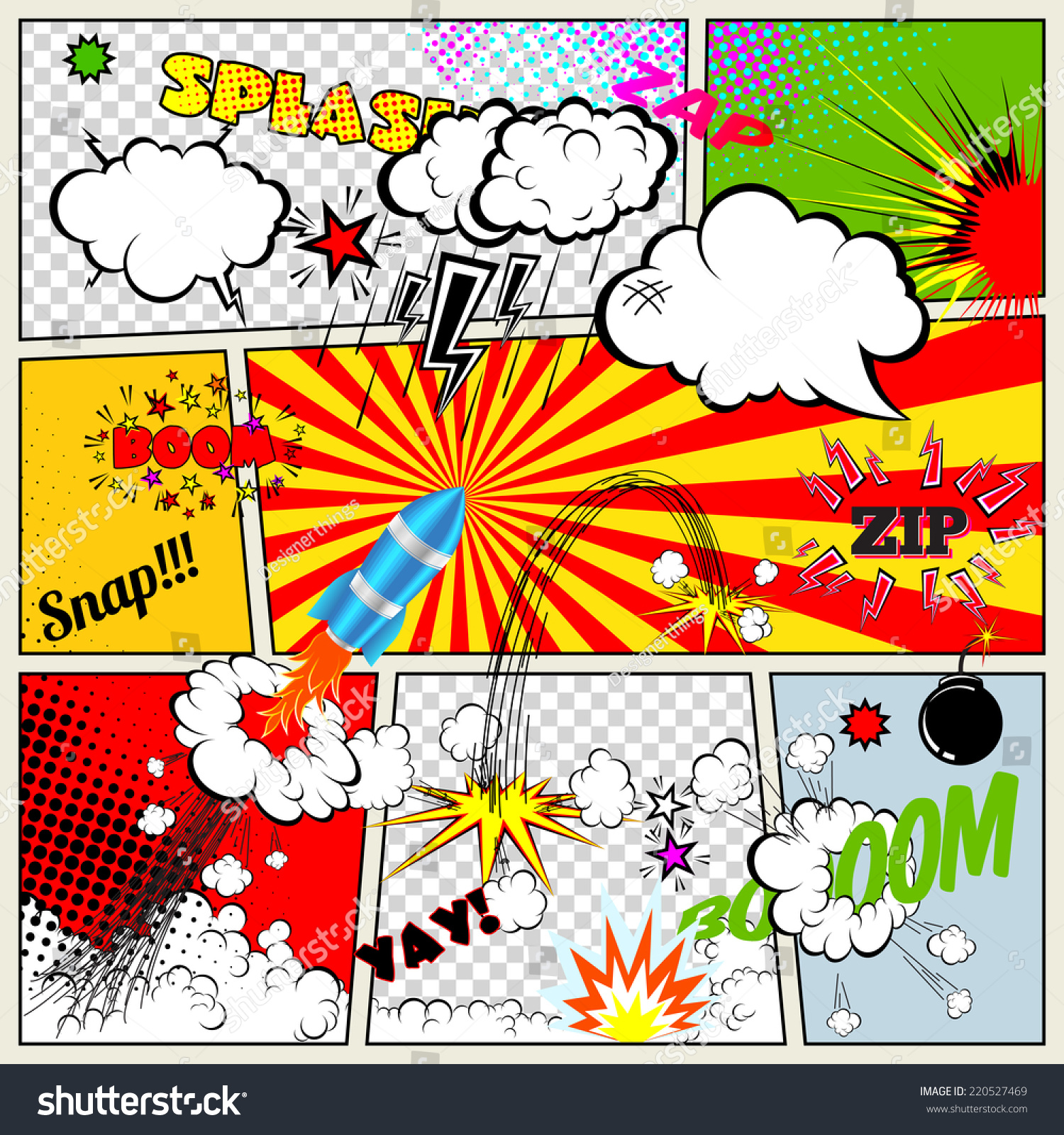 Set of Retro Comic Book Vector Design elements, Speech and Thought ...: www.shutterstock.com/pic-220527469/stock-vector-set-of-retro-comic...