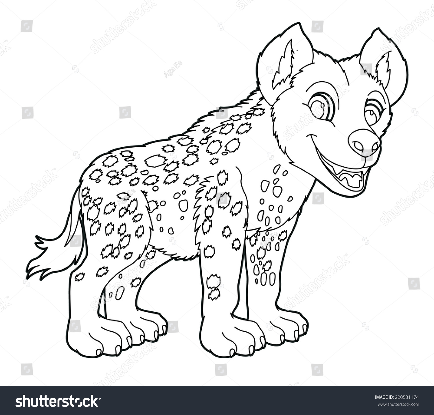 cartoon small animal coloring page hyena stock illustration