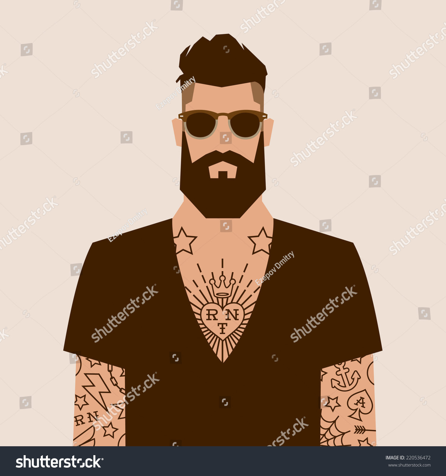Vector Character Design Illustrator : Flat cartoon hipster character vector illustration stock