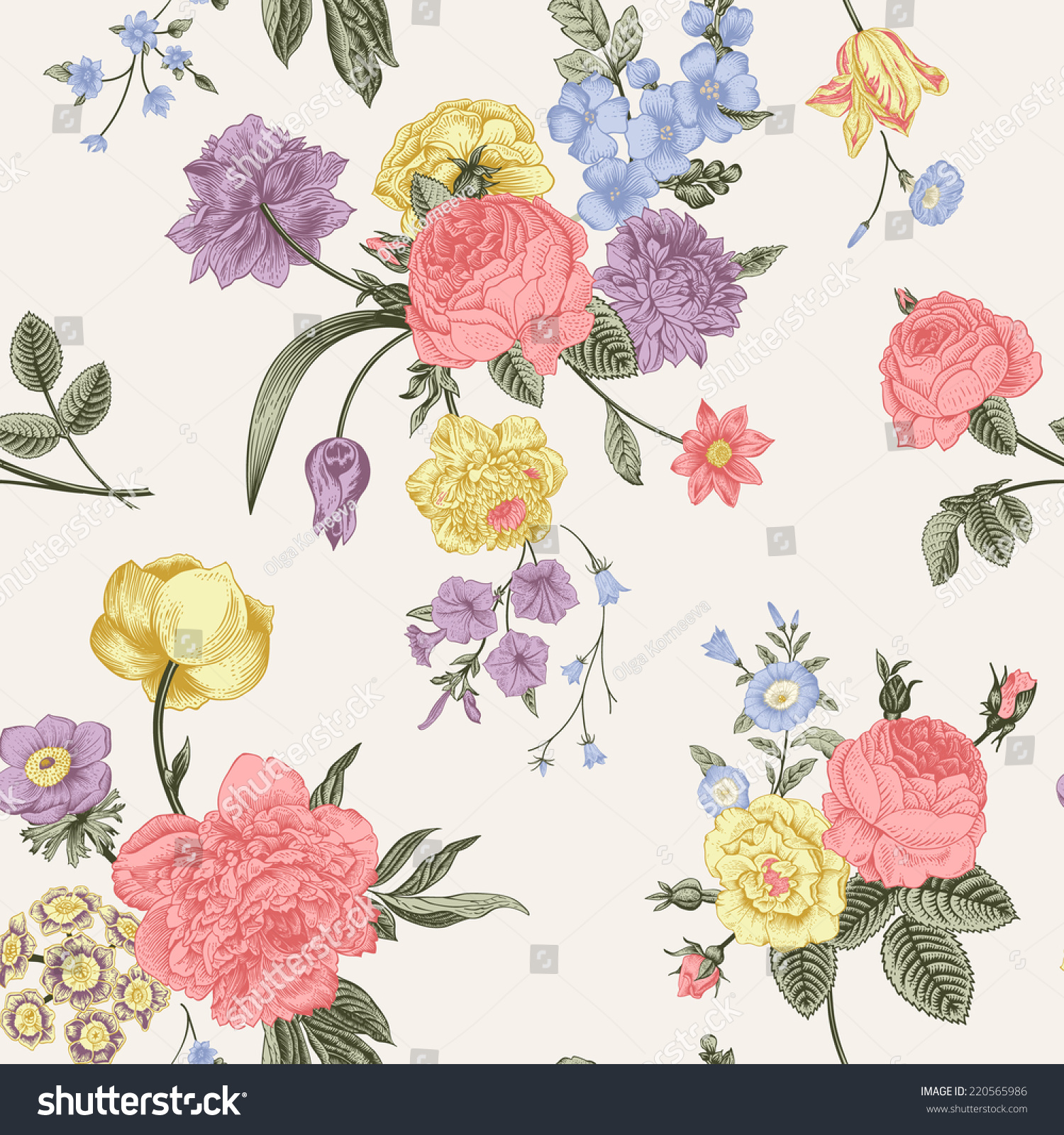 Floral Card Bouquet Of Roses Dog Rose And Anemone Vintage Vector