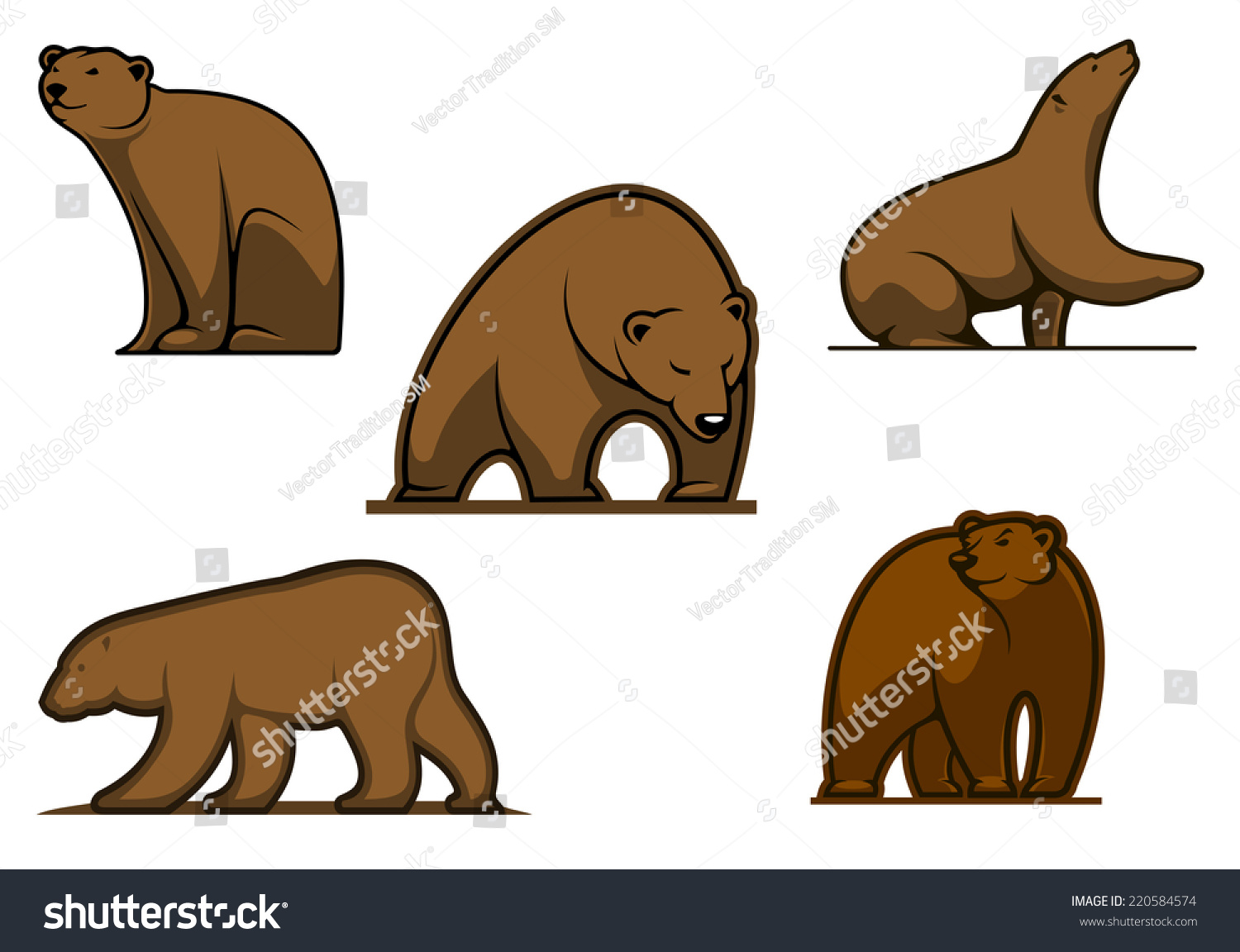 Brown Colored Cartoon Bear Characters Isolated Stock