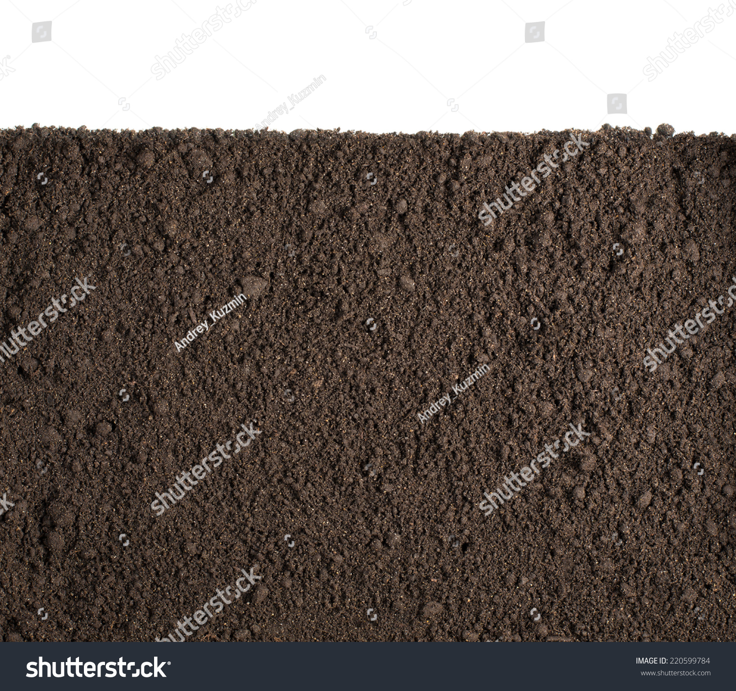 Soil dirt section isolated on white stock photo 220599784 for Earth or soil