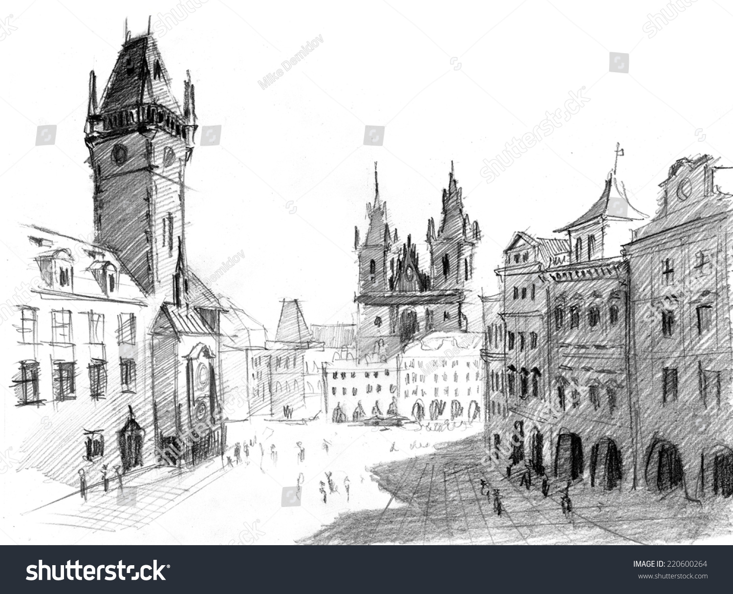 Pencil drawing of cathedral and clock tower in prague center old town czech