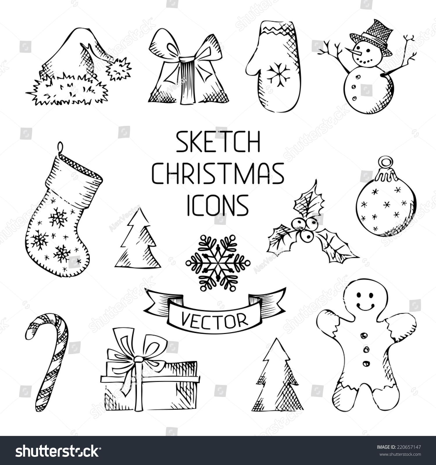 Handdrawn Christmas Icons Sketch Pencil Christmas Stock ...