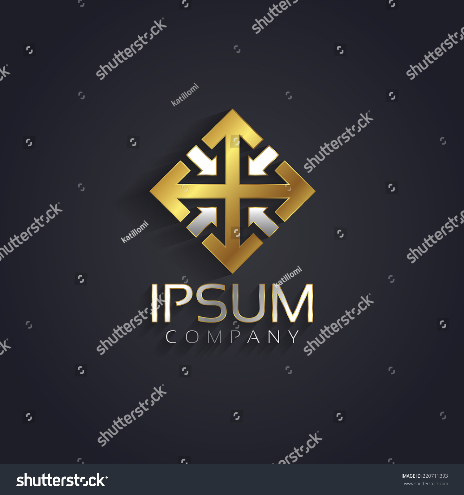 Vector Graphic Elegant Silver Gold Symbol Stock Vector Royalty Free
