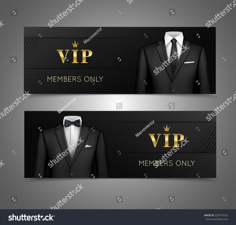 Two Horizontal Vip Privilege Members Luxury Stock Vector