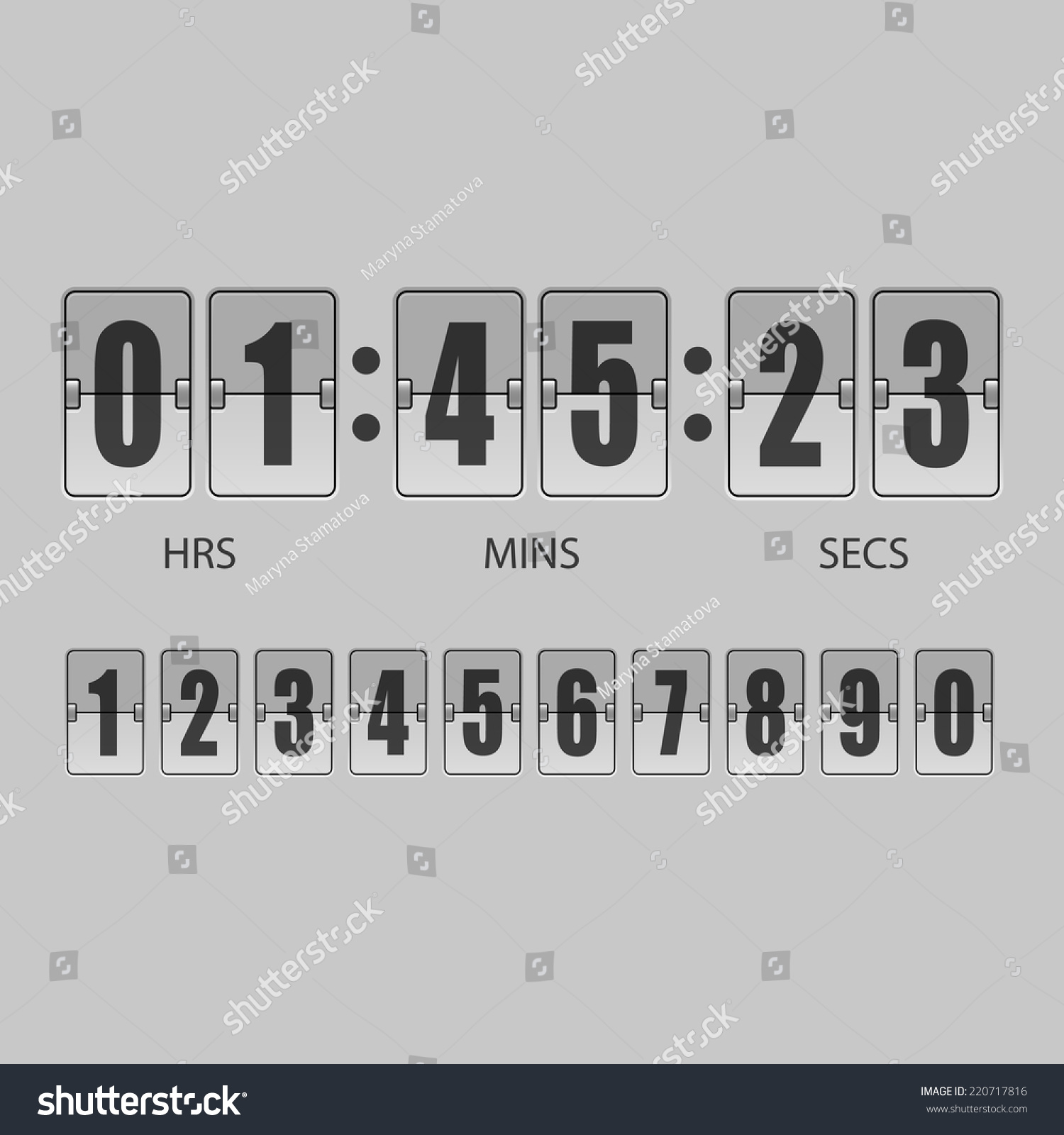 Scoreboard Countdown Timer Isolated On Gray Stock Vector