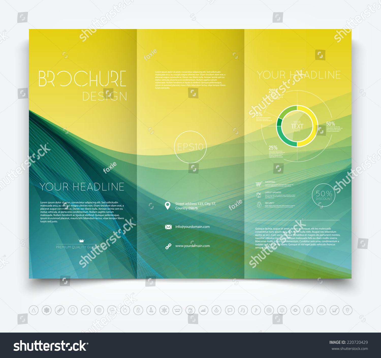 Vector modern tri-fold brochure design template with yellow and ...
