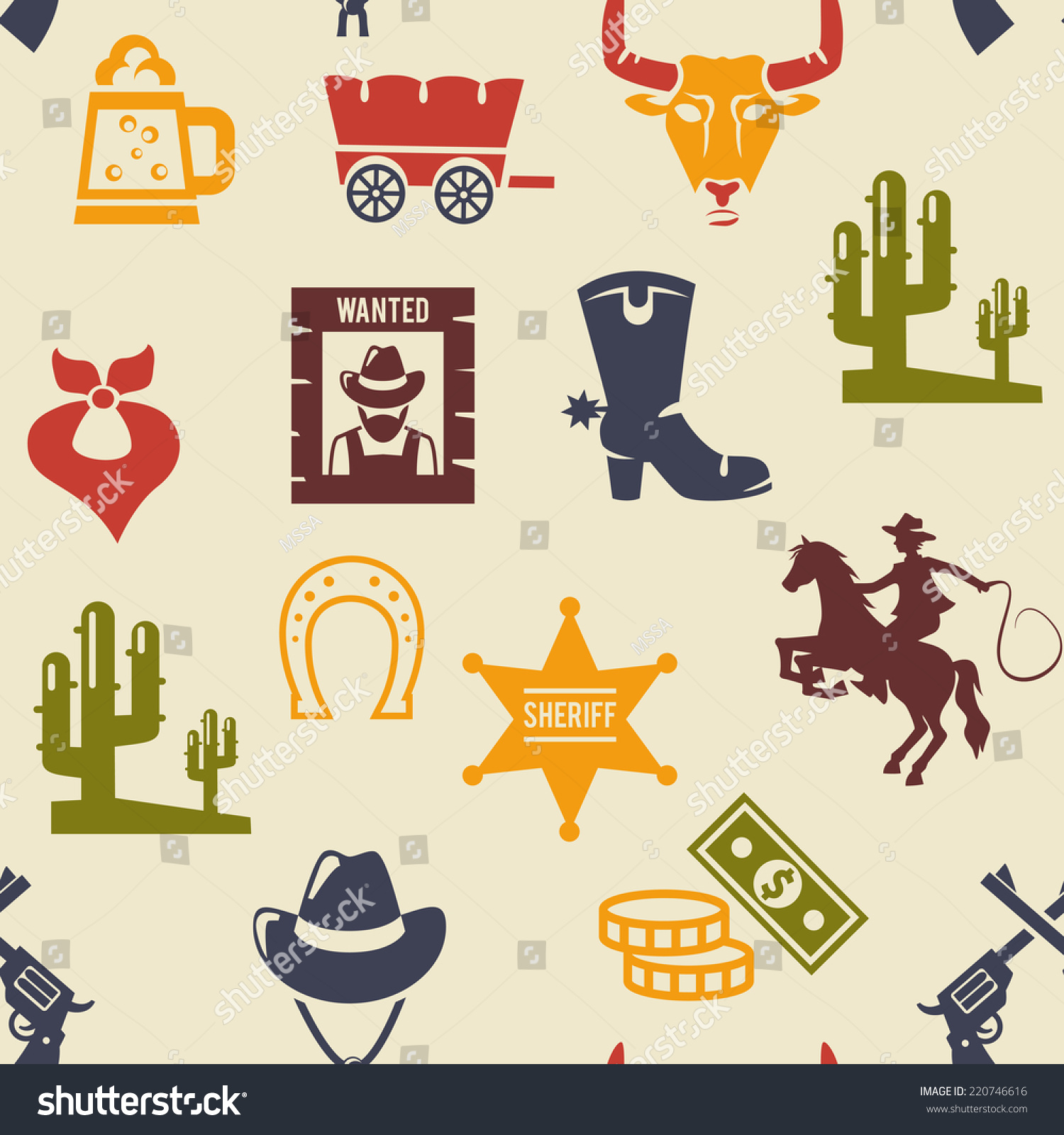 Western Rodeo Seamless Background Pattern Colored Stock ...