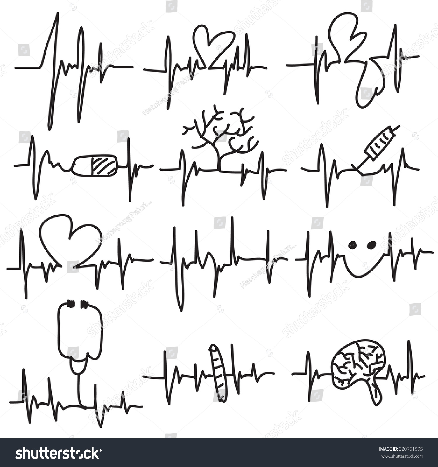 Heartbeat Line Art : Vector illustration drawn heart beat cardiogram stock