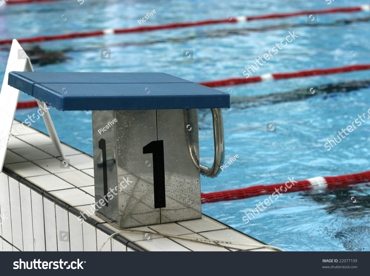 Olympic Swimming Pool Ready For Sports Competition Stock