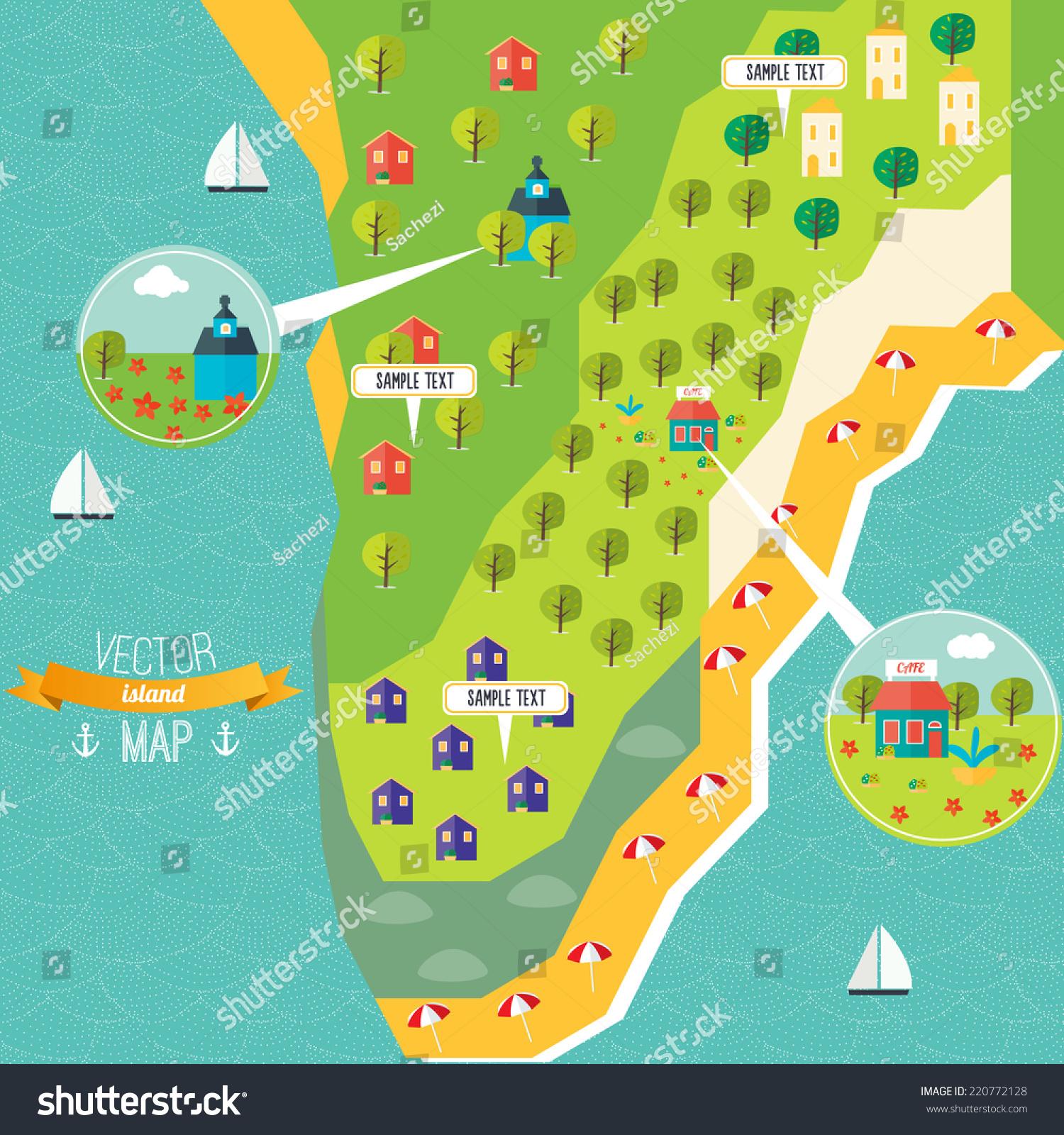 Flat Vector Map Design Stock Vector 220772128 - Shutterstock