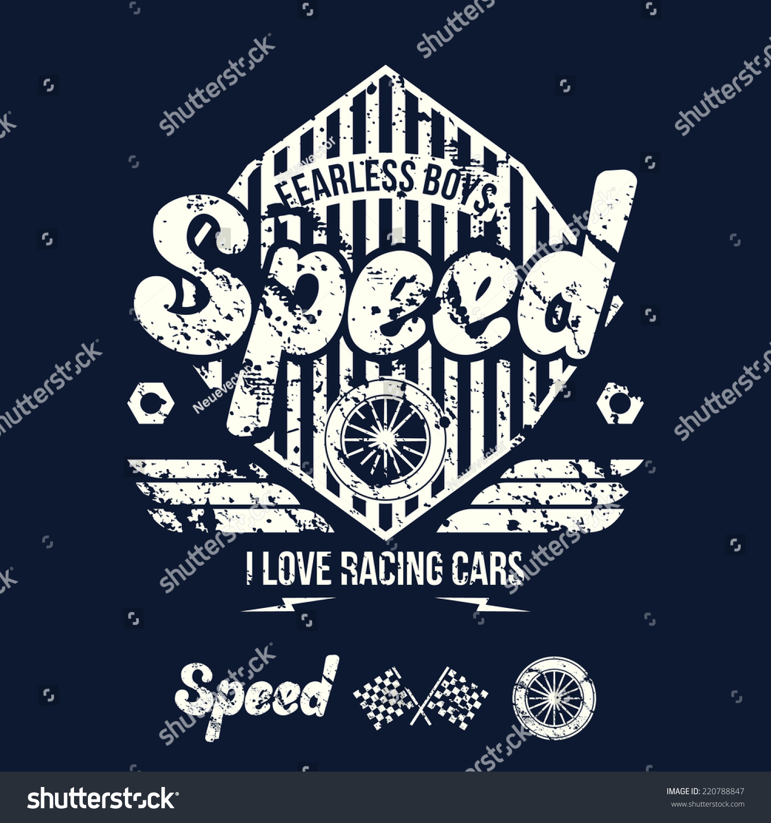 Design car emblem - Emblem Of The Racing Car In Retro Style Graphic Design For T Shirt