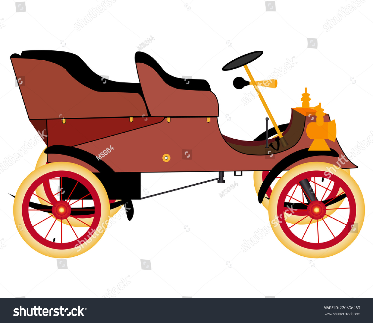 Old Car Ride On White Background Stock Vector (2018) 220806469 ...
