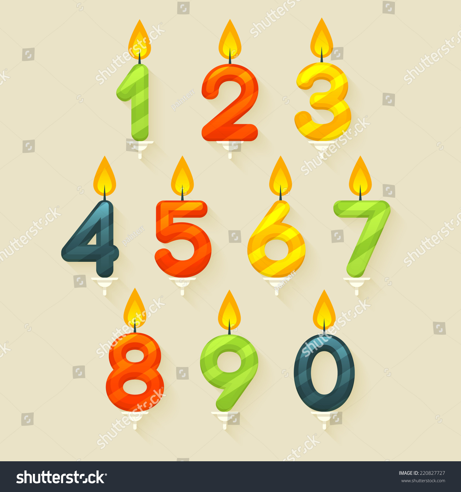 Set Of Colored Glossy Birthday Cake Candles Isolated On Bright Background With Fire Flame