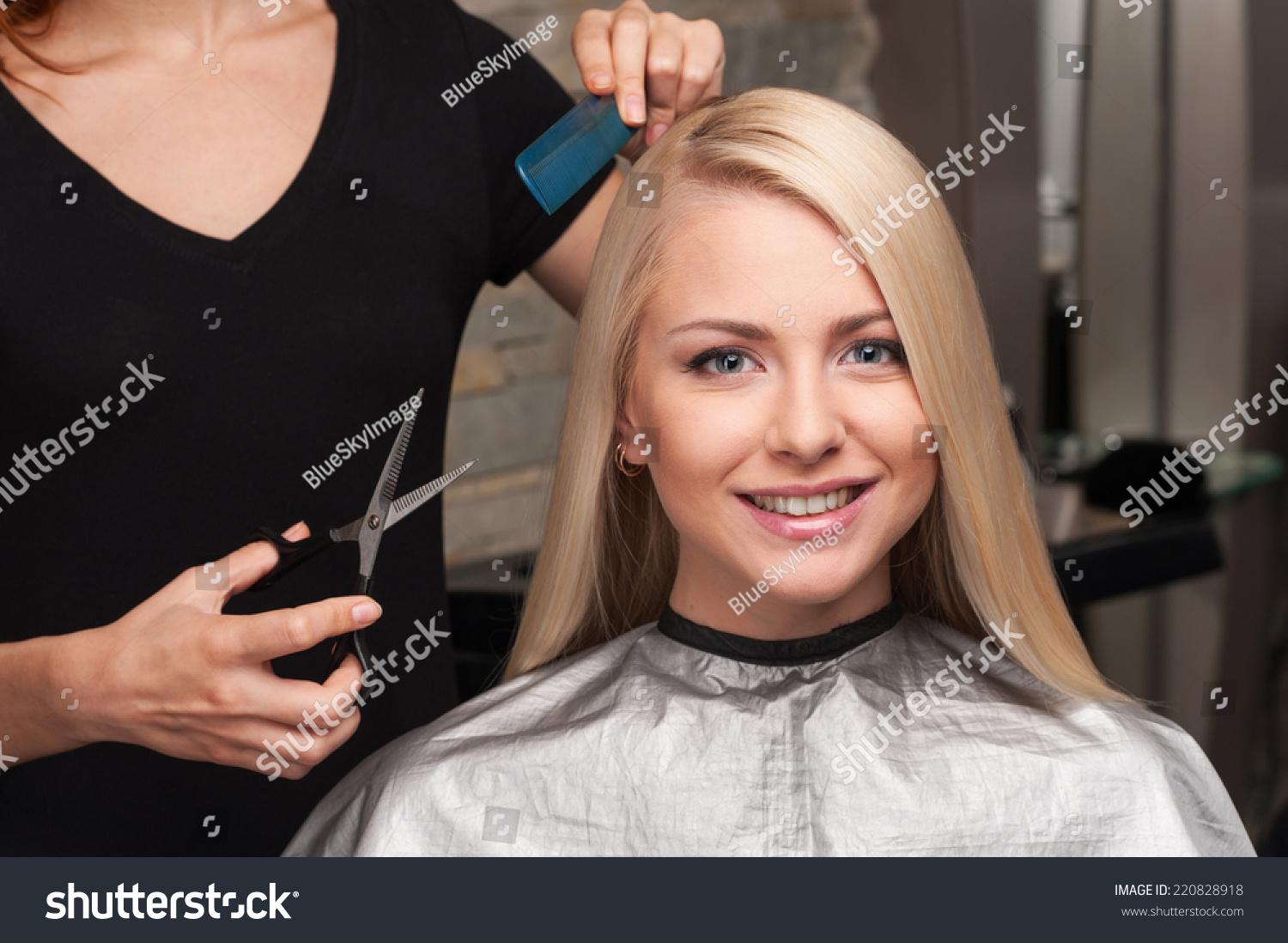 Happy Young Woman Getting New Haircut Stock Photo Edit Now
