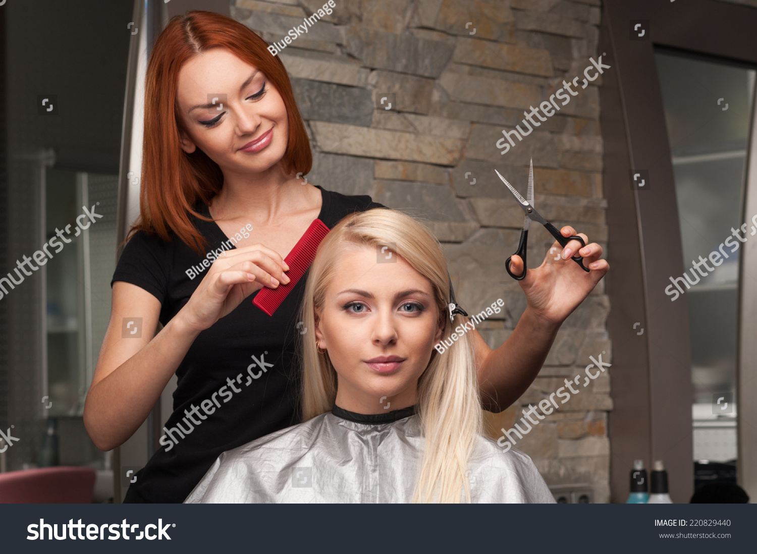 Royalty Free Happy Young Woman Getting New Haircut 220829440 Stock