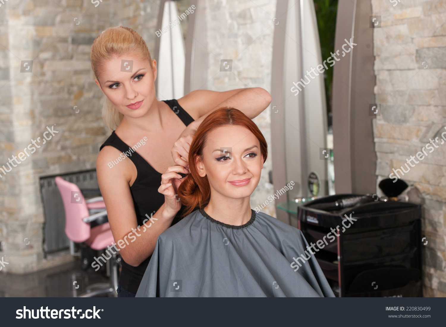 Happy Redhead Woman Getting New Haircut Stock Photo Edit Now