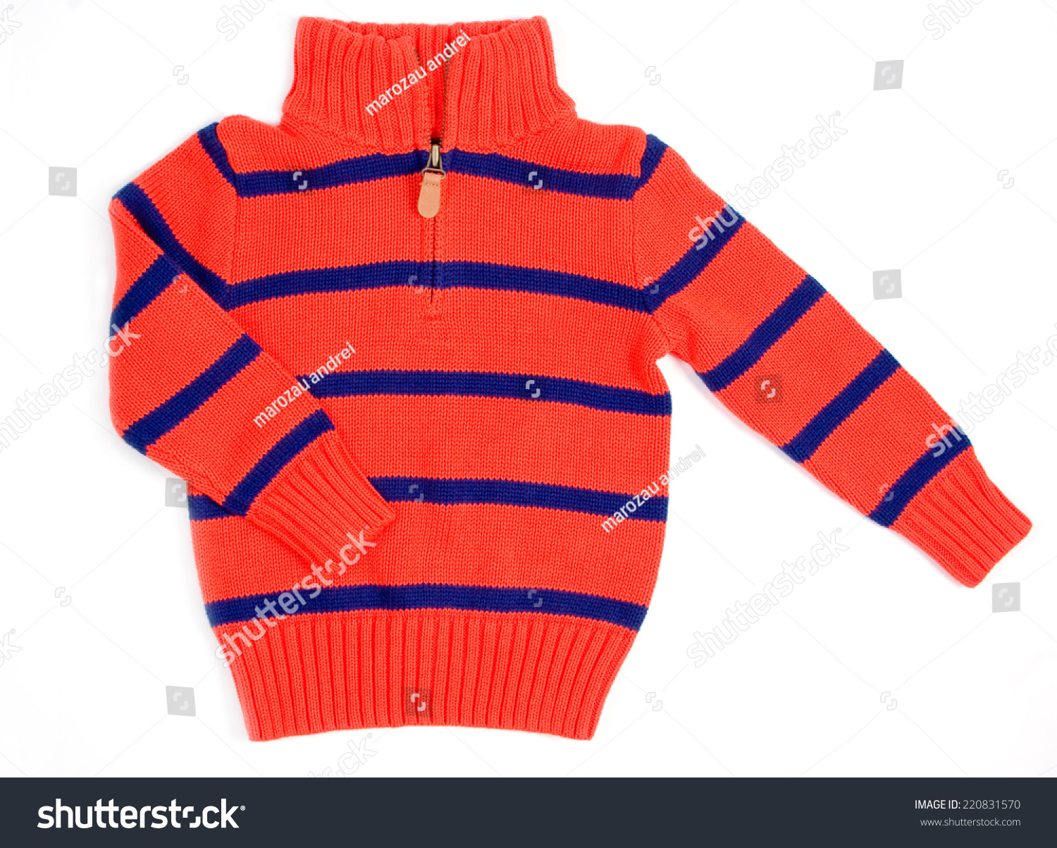 34ee6b228a0f Knitted Children Cardigan Zipper Orange Blue Stock Photo (Edit Now ...