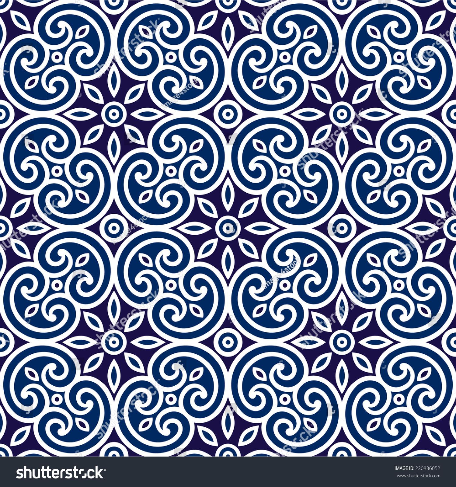 Decorative Geometric Seamless Ornament Tile Fabric Stock