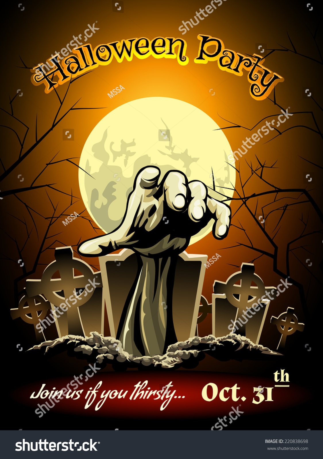 Halloween Party Invitation Zombie Cemetery Graphic Stock Vector ...
