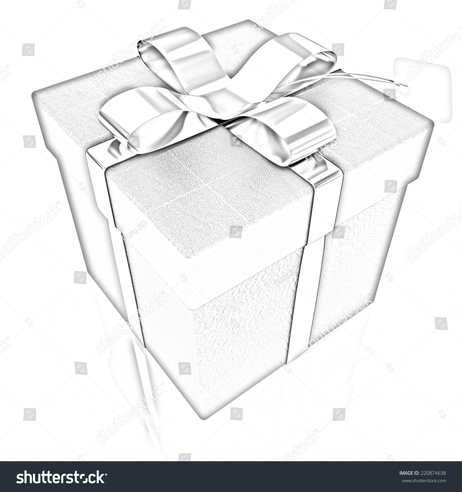 Leather gift box with gold ribbon pencil drawing